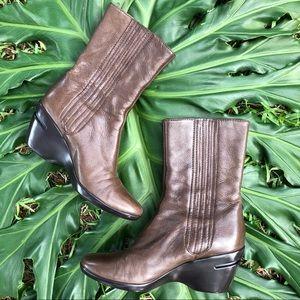 Cole Haan Brown / Tan Wedge Heeled Boots.